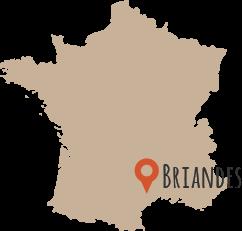 Localisation des Gites de Briandes - Hérault